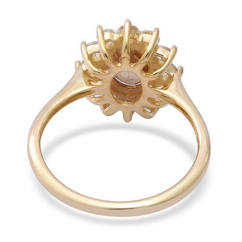 9K Yellow Gold Tanzanian Yellow Zircon (Ovl 8x6mm), Natural Cambodian White Zircon Halo Ring 2.90 Ct.