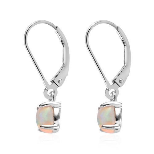 9K W Gold Ethiopian Welo Opal (Ovl) Lever Back Earrings 0.750 Ct.