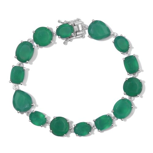 Cocktail Collection- Verde Onyx Bracelet (Size 7) in Platinum Overlay Sterling Silver 35.000 Ct. Silver wt 16.20 Gms.