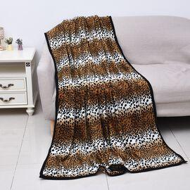 Super Soft Microfibre Plush Blanket Leopard Print (Size 150x200 Cm) - Black, Brown and White Colour