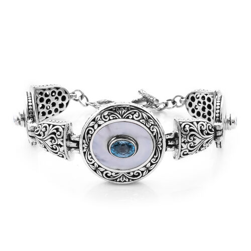 Royal Bali Collection - Mother Of Pearl and Ratankiri Blue Zircon Bracelet (Size 7 with 0.5 inch Ext