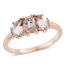 9K Rose Gold AAA Marropino Morganite (Cush), Diamond Ring 1.500 Ct.