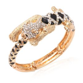 Black and White Austrian Crystal (Rnd) Enamelled Panther Bangle (Size 6.5-7.5 Adjustable) in Gold Pl