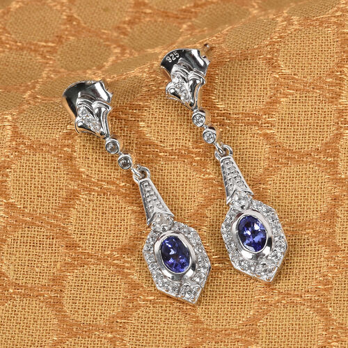 Premium Tanzanite and Natural Cambodian Zircon Dangling Earrings (with Push Back) in Platinum Overlay Sterling Silver 1.00 Ct.