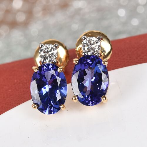 ILIANA 18K Yellow Gold AAAA Tanzanite and Diamond Earrings (with Screw Back) 2.30 Ct.