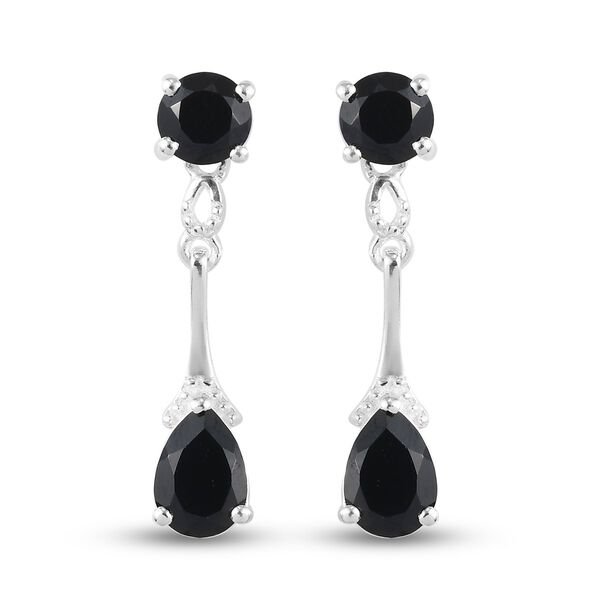 3 Carat Black Spinel Drop Earrings in Sterling Silver With Push Back