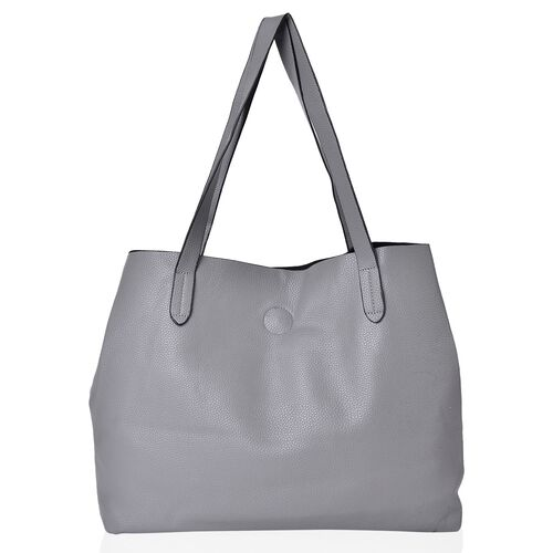 Grey Colour Tote Bag with Magnetic Lock and External Pocket (Size 39X31X11 Cm)