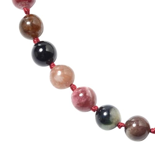 One Time Deal- Rainbow Tourmaline (Rnd) Necklace (Size 20) in Rhodium Overlay Sterling Silver 107.60 Ct.