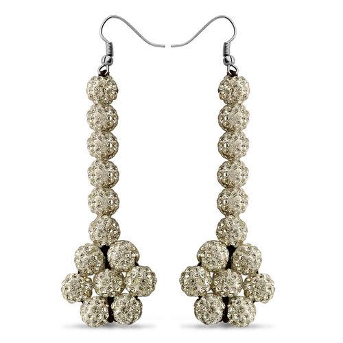 AAA White Austrian Crystal Drop Hook Earrings in Stainless Steel