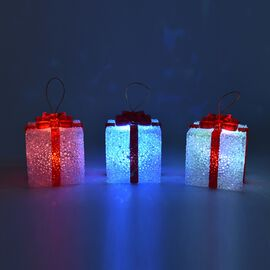 Set of 3 - Christmas Decoration Gift Box in Multicolour Light (Size 8x7x6.5 Cm) - Red and White