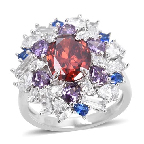 Lustro Stella Simulated Red Garnet Cluster Ring in Rhodium Plated Silver