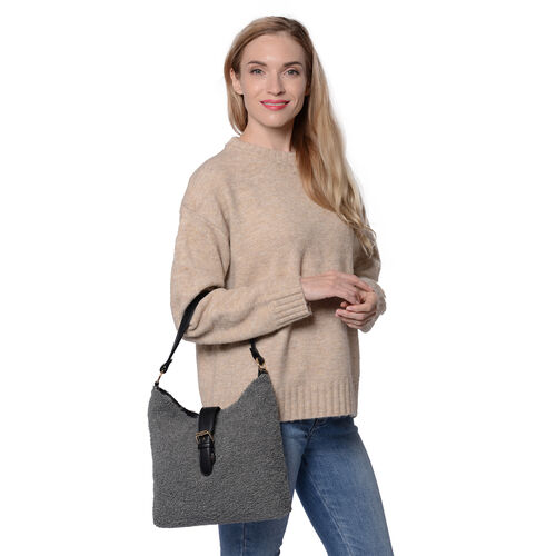 Faux Fur Shoulder Bag (26x24x5cm) with Clasp Closure - Dark Grey
