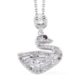 GP 0.52 Ct Diamond and Blue Sapphire Swan Cluster Pendant With Chain in Platinum Plated Silver