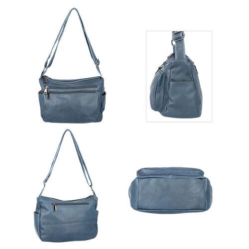 100% Genuine Leather Multiple Pocket Crossbody Bag with Zipper Closure & Adjustable Shoulder Strap (Size 28x23x10 Cm) - Teal Blue