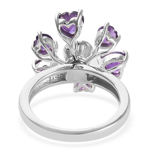 GP AA Amethyst (Hrt and Rnd) and Blue Sapphire Ring in Platinum Overlay Sterling Silver 2.76 Ct.
