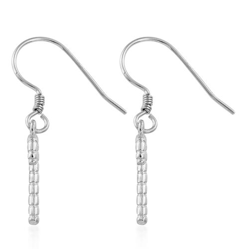 Platinum Overlay Sterling Silver Christmas Stick Hook Earrings, Silver wt. 1.65 Gms.
