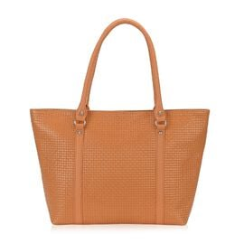 100% Genuine Leather Weave Pattern RFID Protected Tote Bag (Size 43x28.5x8 Cm) - Camel