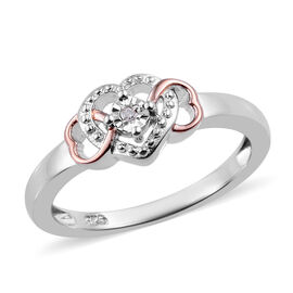 One Time Deal- Diamond (Rnd) Heart Ring in Platinum and Rose Gold Overlay Sterling Silver