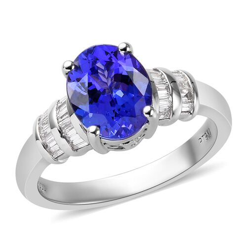RHAPSODY 2.15 Ct AAAA Tanzanite and Diamond Solitaire Ring in 950 Platinum