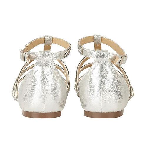 Lotus Silver & Diamante Zelina Flat Strappy Sandals (Size 3)