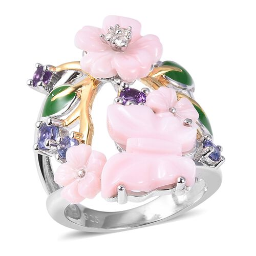 Jardin Pearl and Multi Gemstone Floral Ring in Gold and Rhodium Plated Silver 6.43 Grams