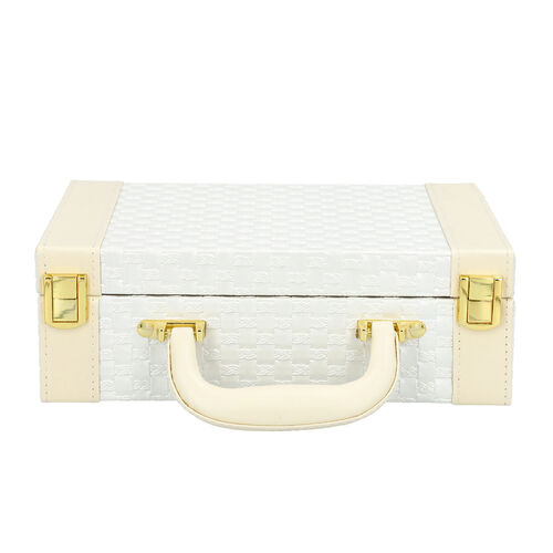 White Colour Woven Pattern Briefcase Design Double Layer Jewellery Box with Mirror Inside (Size 27.5X18.5X9 Cm)