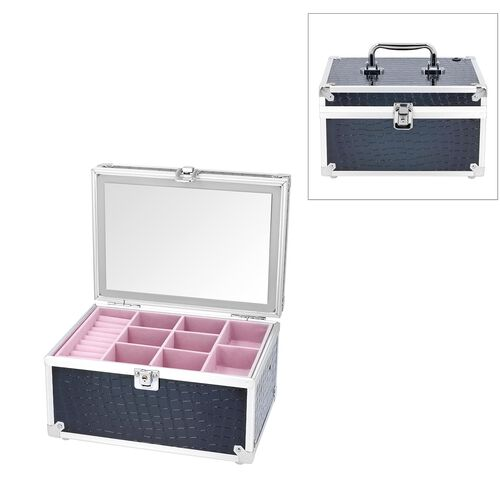 2 Layer Crocodile Skin Pattern Jewellery and Cosmetic Organiser with Touch LED Light Makeup Mirror (