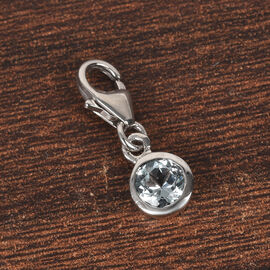 AA Brazilian Aquamarine (0.50 Ct) Platinum Overlay Sterling Silver Charm 0.40 Ct.