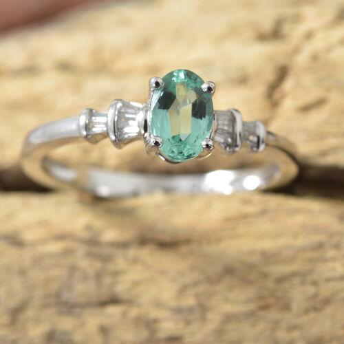 9K White Gold AA Boyaca Colombian Emerald (Ovl), Diamond Ring  0.500 Ct