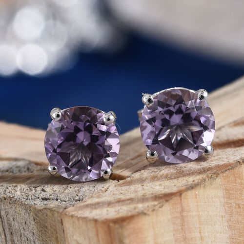 AA Rose De France Amethyst (Rnd) Stud Earrings (with Push Back) in Platinum Overlay Sterling Silver 2.250 Ct.