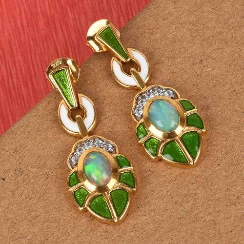 Ethiopian Welo Opal and Natural Cambodian Zircon Enamelled Earrings (with Push Back) in 14K Gold Overlay Sterling Silver 1.25 Ct.
