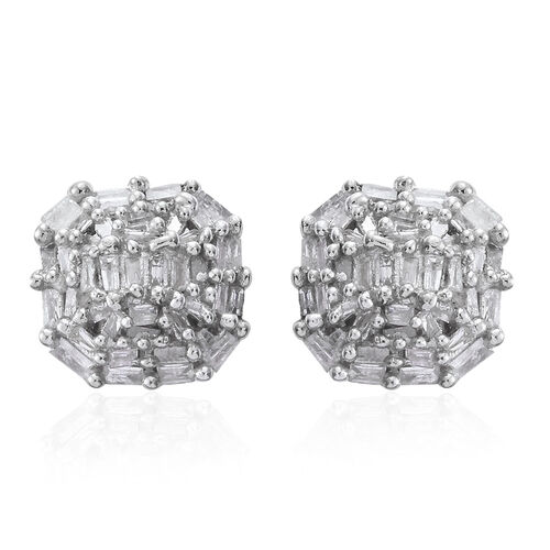 Diamond (Bgt) Stud Earrings (with Push Back) in Platinum Overlay Sterling Silver 0.500 Ct.