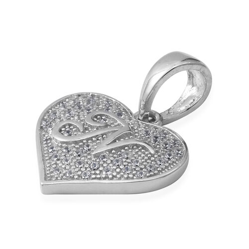 ELANZA Simulated Diamond (Rnd) Heart with Initial N Pendant in Rhodium Overlay Sterling Silver