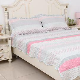 3 Piece Set  - Microfiber King Size Quilt (Size 260x240 Cm ) and 2 Pillow Case (Size 70x50 Cm)