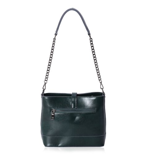 Close Out Deal 100% Genuine Leather Olive Green Vintage Style Handbag (Size 23x20x10 Cm)