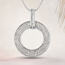 White Austrian Crystal Circle of Life Pendant with Chain (Size 28 with 2.5 inch Extender) in Silver