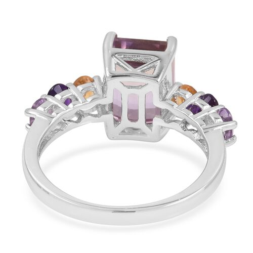 Natural Anahi Ametrine (Oct 4.50 Ct), Amethyst, Citrine and Pink Amethyst Ring in Rhodium Overlay Sterling Silver 5.530 Ct.