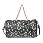 Flower Pattern Crossbody Bag with Metallic Chain Handle Drop and Adjustable Shoulder Strap (30x14x18