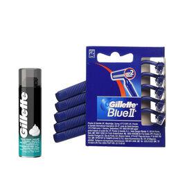 Gillette: Blue II Disposable Razors 5s & Sensitive Shaving Foam - 200ml