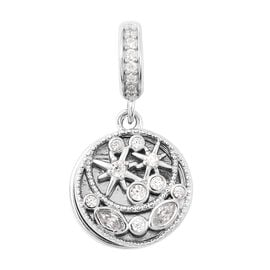 Charmes De Memoire - Simulated Diamond Charm in  Rhodium Overlay Sterling Silver Charm/Pendant