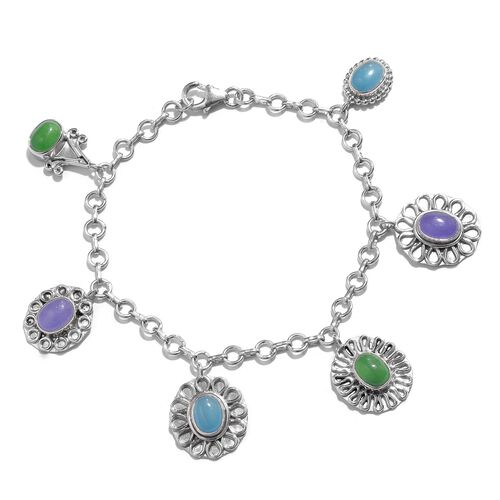 One Time Deal- Designer Inspired Blue Jade (Ovl), Purple Jade and Green Jade Bracelet (Size 7.5) in Sterling Silver 10.02 Ct. Silver wt. 12.10 Gms.