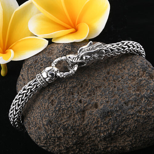 Royal Bali Collection - Sterling Silver Dragon Head Tulang Naga Bracelet (Size 7.25), Silver wt 51.64 Gms.