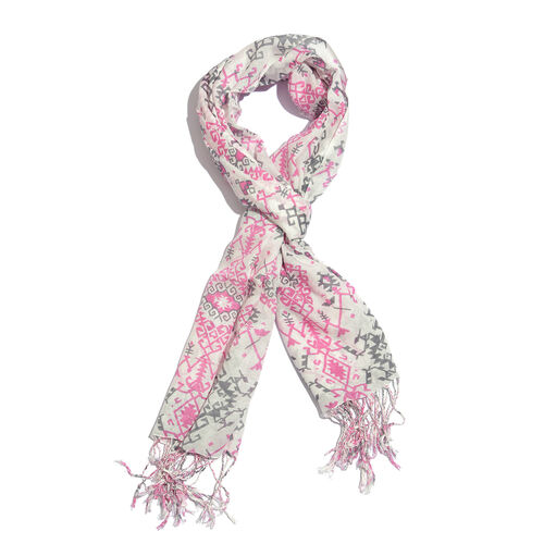 Pink, Grey and Off White Colour Printed Scarf with Tassels (Size 180X70 Cm)