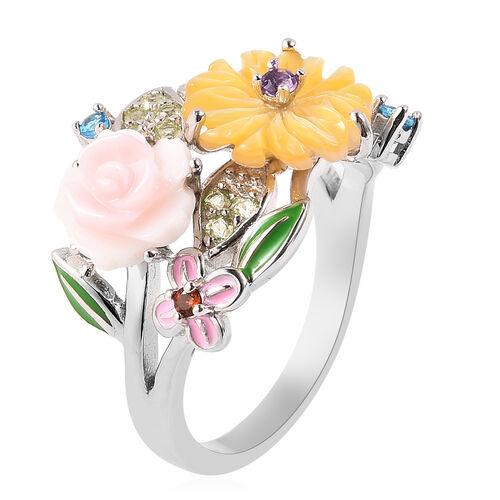 Jardin Collection - Pink Mother of Pearl, Yellow Mother of Pearl, Neon Apatite and Multi Gemstone Enamelled Floral Ring in Rhodium Overlay Sterling Silver