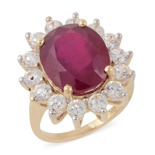 9.40 Ct AAA African Ruby and Natural White Cambodian Zircon Halo Ring in 9K Yellow Gold 3 Grams