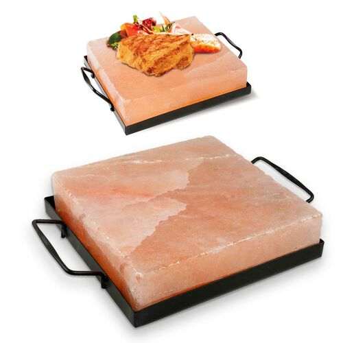 LIMITED AVAILABLE- Himalayan Salt Square Cooking Plates with Metal Holder (Size: 21x21, Weight: 5.5k