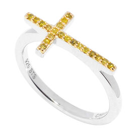 Yellow Diamond (Rnd) Cross Ring in Yellow Rhodium Overlay Sterling Silver 0.100 Ct.