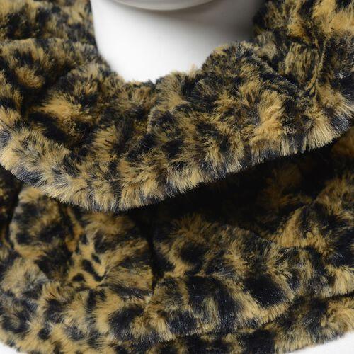 Leopard Skin Pattern Faux-Fur Hand Cuffs (9.5x12 Cm) and Faux Fur Infinity Scarf (Size 32x24 Cm) Black Colour