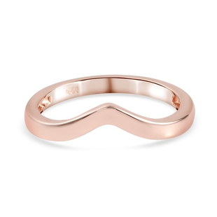 Rose Gold Overlay Sterling Silver Wishbone V Shape Ring