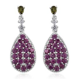 Rare Purple Garnet (Rnd), Russian Diopside and Natural Cambodian Zircon Drop Earrings (with Push Back) in Platinum Overlay Sterling Silver 5.750 Ct. Silver wt. 5.83 Gms.